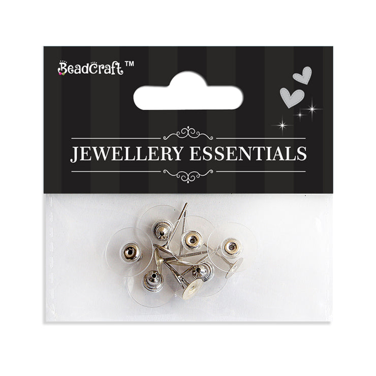 Jewellery Findings - Ear Post And Comfort Disk, Silver 20pcs