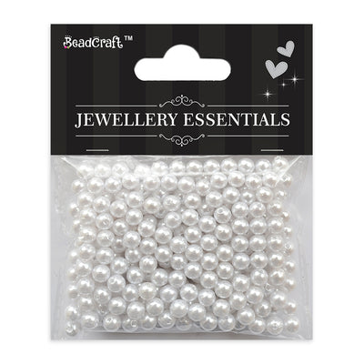 Pearl Beads 5mm,20gm - Plastic, White