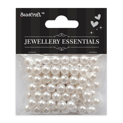 Pearl Beads 8mm,20gm - Plastic, White