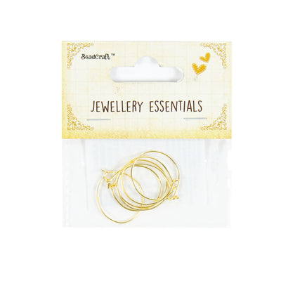 Findings - Earring Hoops Round, Gold 2 cm diameter, 6 pcs