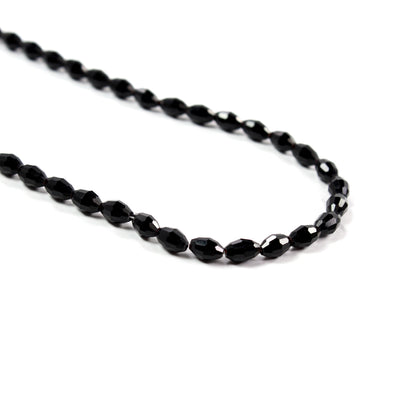 Fire Polish Bead String 4mm,72pcs- Oval, Faceted Black
