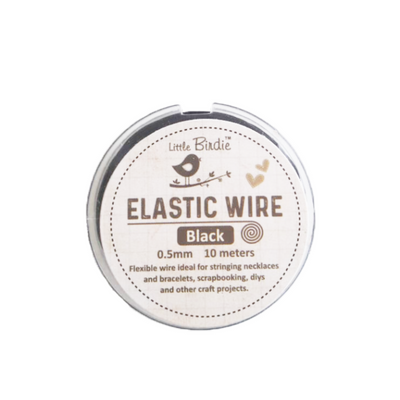 Elastic Wire 0.5mm- Black 10mts