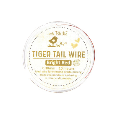 Tiger Tail Wire 0.38 mm- Bright Red 10mts