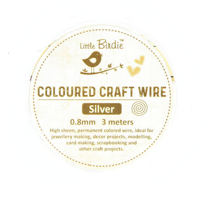 Colored Craft Wire 0.8 mm- Sliver 3mts