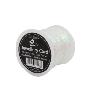 Stringing Zari Thread Pearl White - 100mtrs, 1Roll