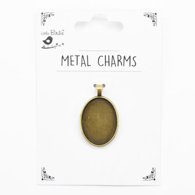 Metal Charm - Pendant Blank, Oval, 1pc