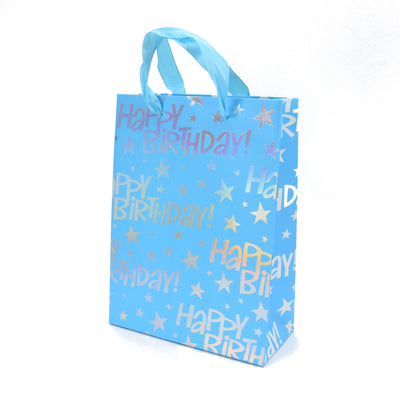 Happy Birthday Gift Bag - Blue 23.5X17.5X8Cm, 1Pc