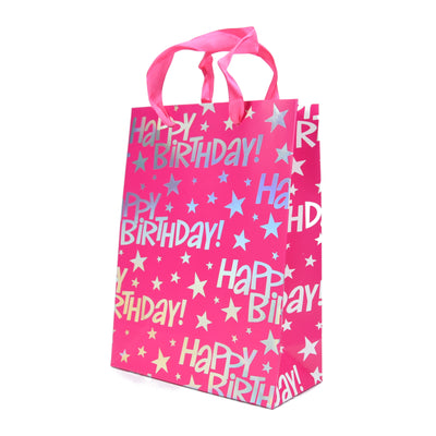 Happy Birthday Gift Bag- Pink 23.5X17.5X8Cm, 1Pc