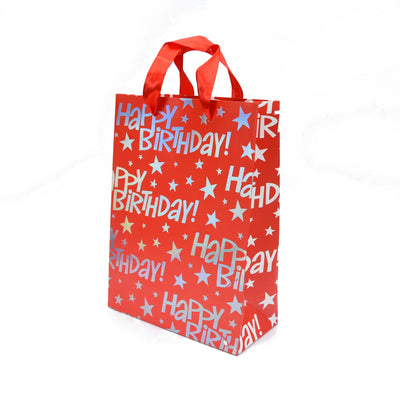 Happy Birthday Gift Bag - Red 23.5X17.5X8Cm, 1Pc