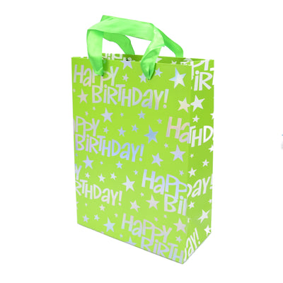 Happy Birthday Gift Bag - Green, 23.5X17.5X8Cm, 1Pc