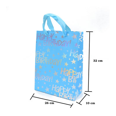 Happy Birthday Gift Bag - Blue, 26X32X10Cm, 1Pc