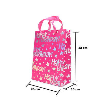 Happy Birthday Gift Bag - Pink 26X32X10Cm, 1Pc