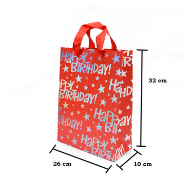 Happy Birthday Gift Bag - Red 26X32X10Cm, 1Pc