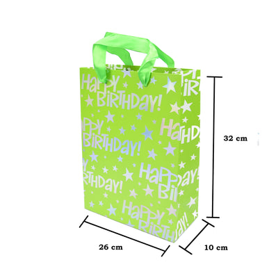 Happy Birthday Gift Bag -Green, 26X32X10Cm, 1Pc