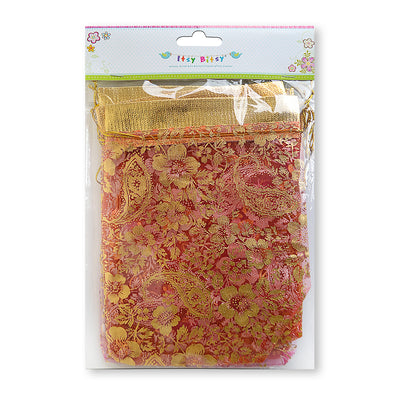 Organza Bag With Zari- -Assorted Colour 6pcs