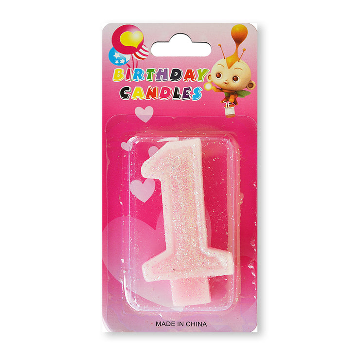 Glitter Party Candle Number - 1 (Pink)
