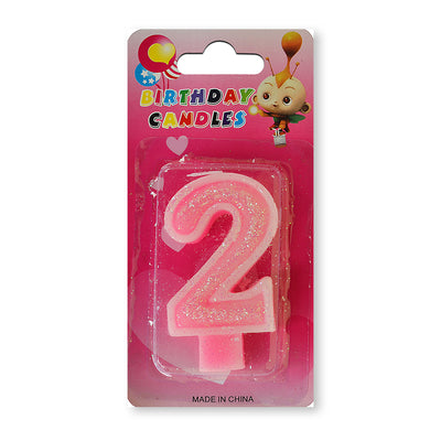 Glitter Party Candle Number - 2 (Pink)