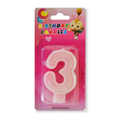 Glitter Party Candle Number - 3 (Pink)