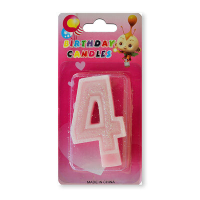 Glitter Party Candle Number - 4 (Pink)