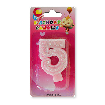 Glitter Party Candle Number - 5 (Pink)