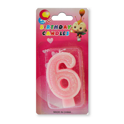 Glitter Party Candle Number - 6 (Pink)