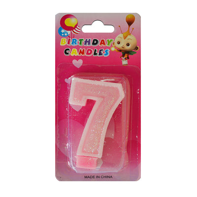 Glitter Party Candle Number - 7 (Pink)