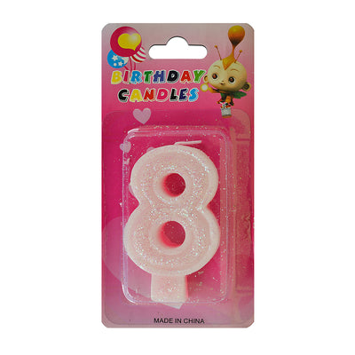 Glitter Party Candle Number - 8 (Pink)