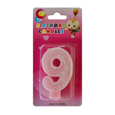 Glitter Party Candle Number - 9 (Pink)