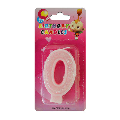 Glitter Party Candle Number - 0 (Pink)