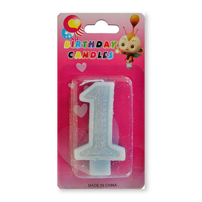Glitter Party Candle Number - 1 (Blue)