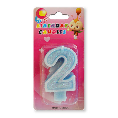 Glitter Party Candle Number - 2 (Blue)