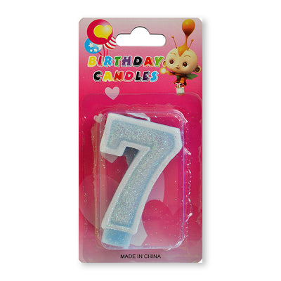 Glitter Party Candle Number - 7 (Blue)