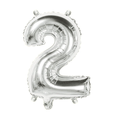 Foil Balloon Number 2 Silver - 1Pc, 16 Inch