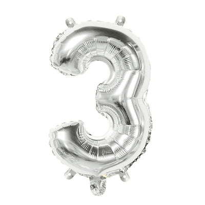 Foil Balloon Number 3 Silver - 1Pc, 16 Inch