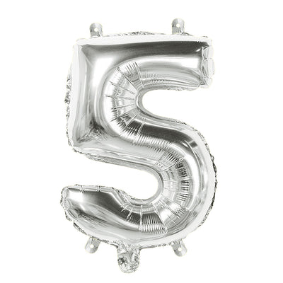 Foil Balloon Number 5 Silver - 1Pc, 16 Inch