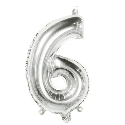 Foil Balloon Number 6 Silver - 1Pc, 16 Inch