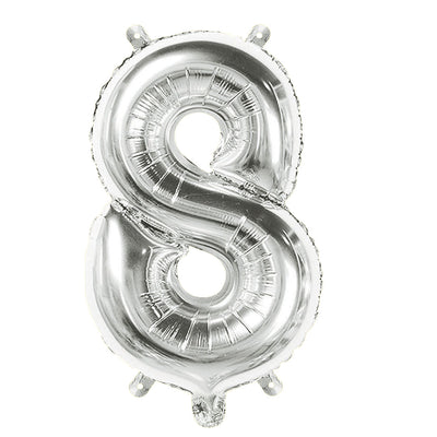 Foil Balloon Number 8 Silver - 1Pc, 16 Inch