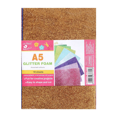 Glitter Foam Sheets - Assorted Colour A5, 10sheets
