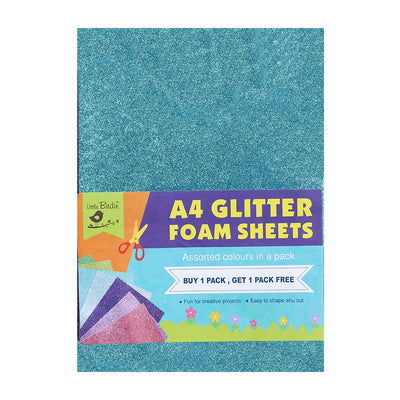 Glitter Foam Sheets - Assorted Colour A4, 10sheets