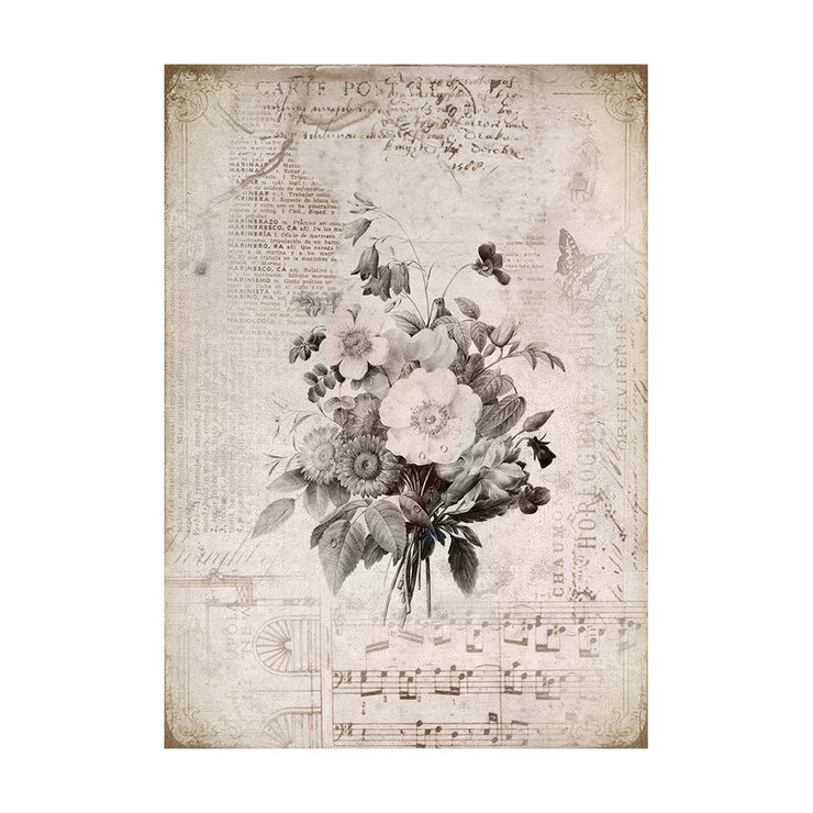Decoupage Paper A4size, 4sheets - Melody Blooms