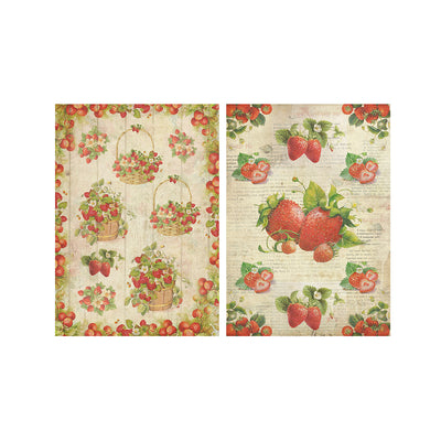 Decoupage Paper A4size, 4sheets - Strawberry Treat