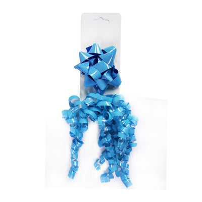 Curly Ribbon Bow - Blue