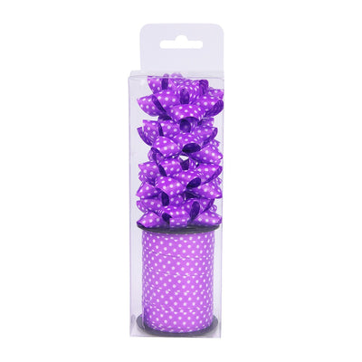 Curling Ribbon Polka Dots Roll With 4 Bows - Purple
