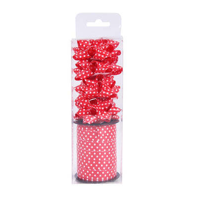 Curling Ribbon Polka Dots Roll With 4 Bows - Red