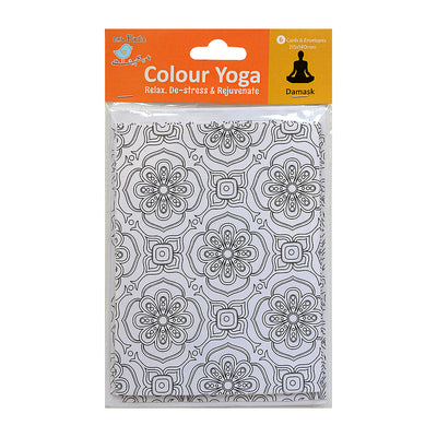 Colour Your Own Cards- Damask  6 Card & 6 Envelope