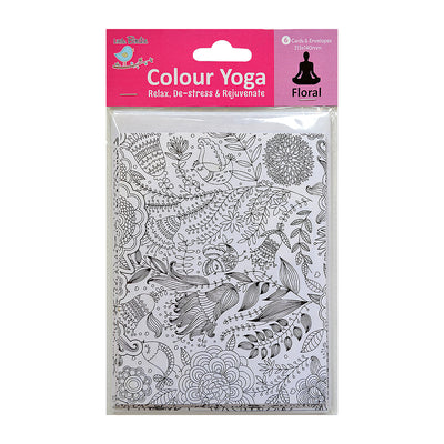 Colour Your Own Cards - Floral, 6 Cards & 6 Envelopes