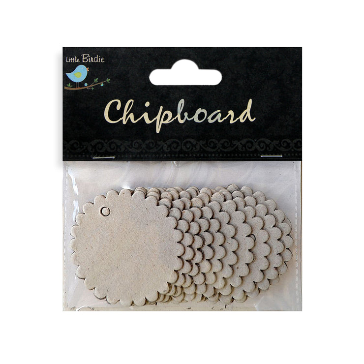 Chipboard Round Scalloped Tags 10pcs