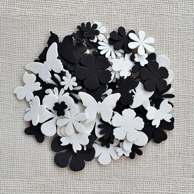 Foam Die Cuts - Assorted Shapes, Black and White 80pcs