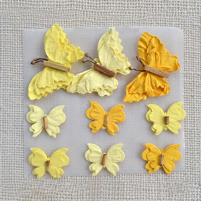 Designer Butterflies- Yellow,9pcs