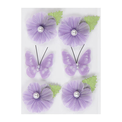 Vellum Flowers And Butterflies- Purple,6pcs